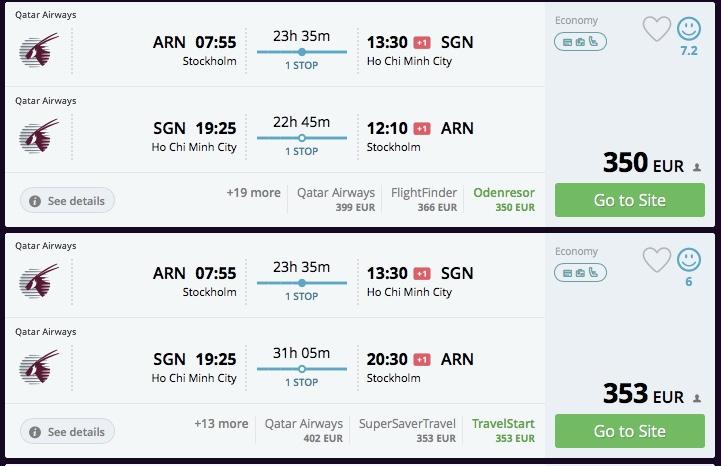Štokholm – Vietnam od 351€ s Qatar Airways