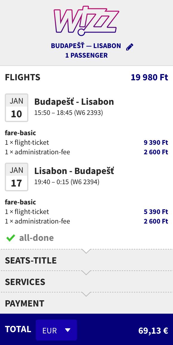Lisabon z Budapešti už od 43€ spiatočne