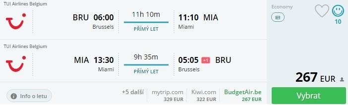 Brussel – Miami priamy let spiatočne od 267€