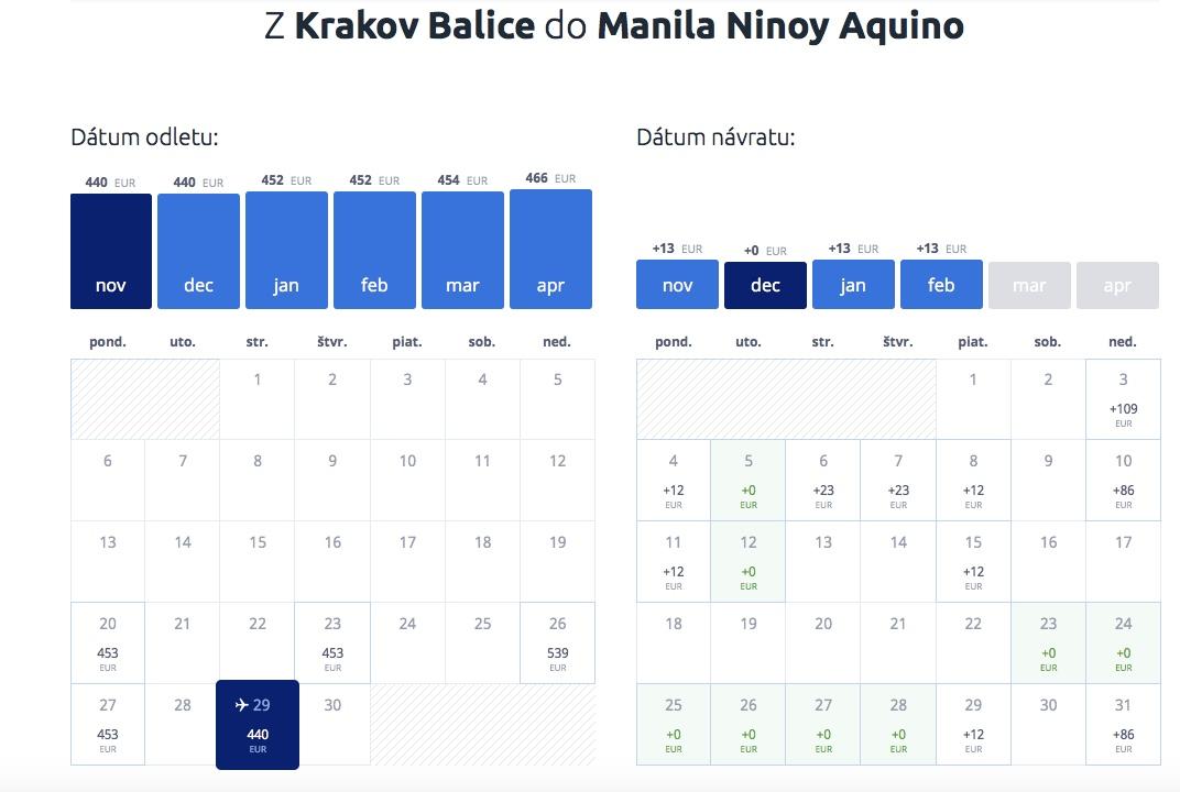 Spiatočná letenka Krakow – Manila, Filipíny už od 440€