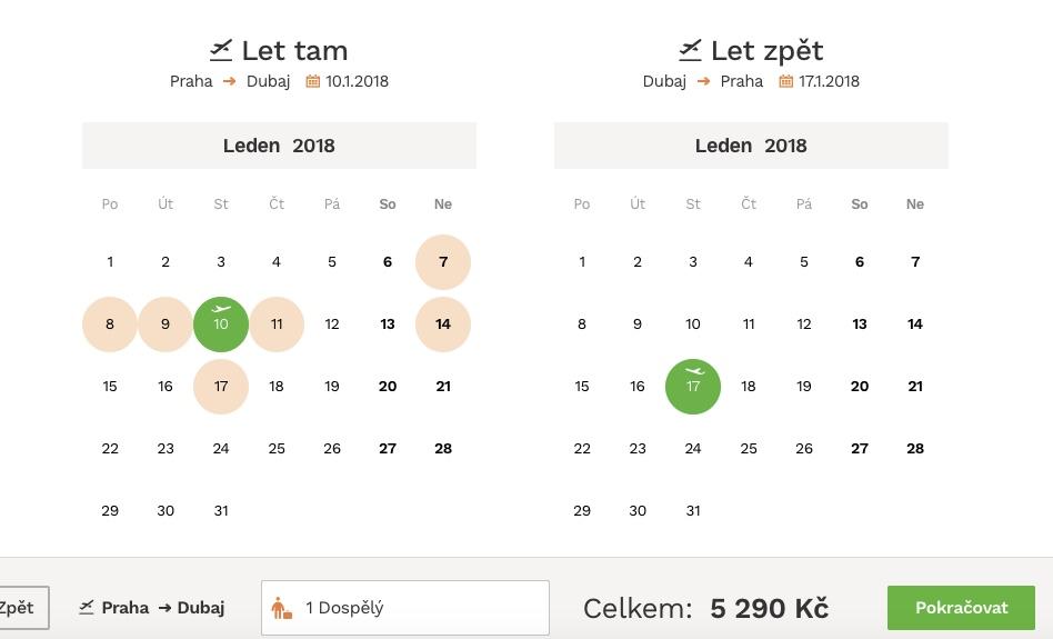 Z Prahy do Dubaja už od 210€ počas januára 2018