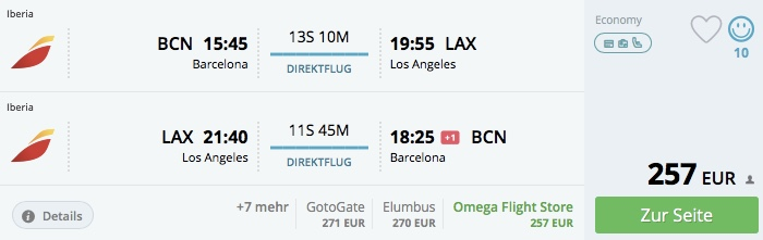 Z Barcelony do Los Angeles už od 257€