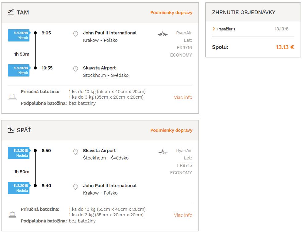 Štokholm z Krakowa už od 14€