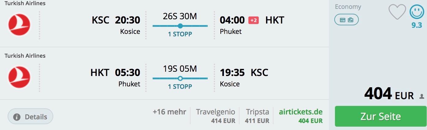 Košice – Phuket od 404€ s Turkish Airlines