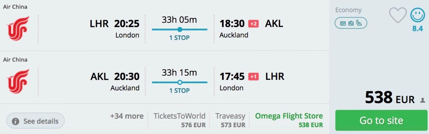 Londýn – Auckland – Londýn za 538€