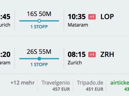 Zurich – Lombok od 438€