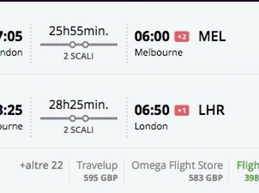 Chybná tarifa! Z Londýna do Austrálie už od 450€