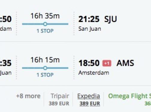 Z Amsterdamu do Portorika už za 368€