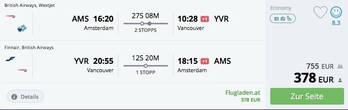 Z Amsterdamu do Vancouvru už za 377€