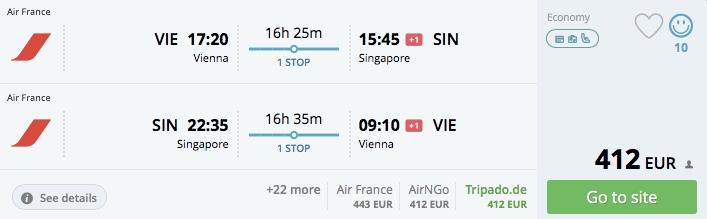 Z Viedne do Singapore už od 413€!