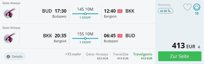 Budapešť – Bangkok za 413€