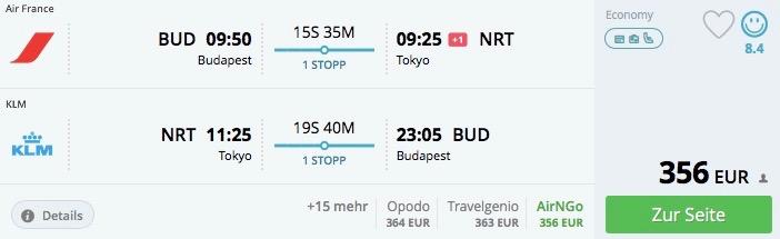 Budapešť – Tokio od 356€