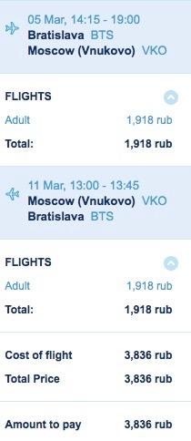 Moskva z Bratislavy za 56€