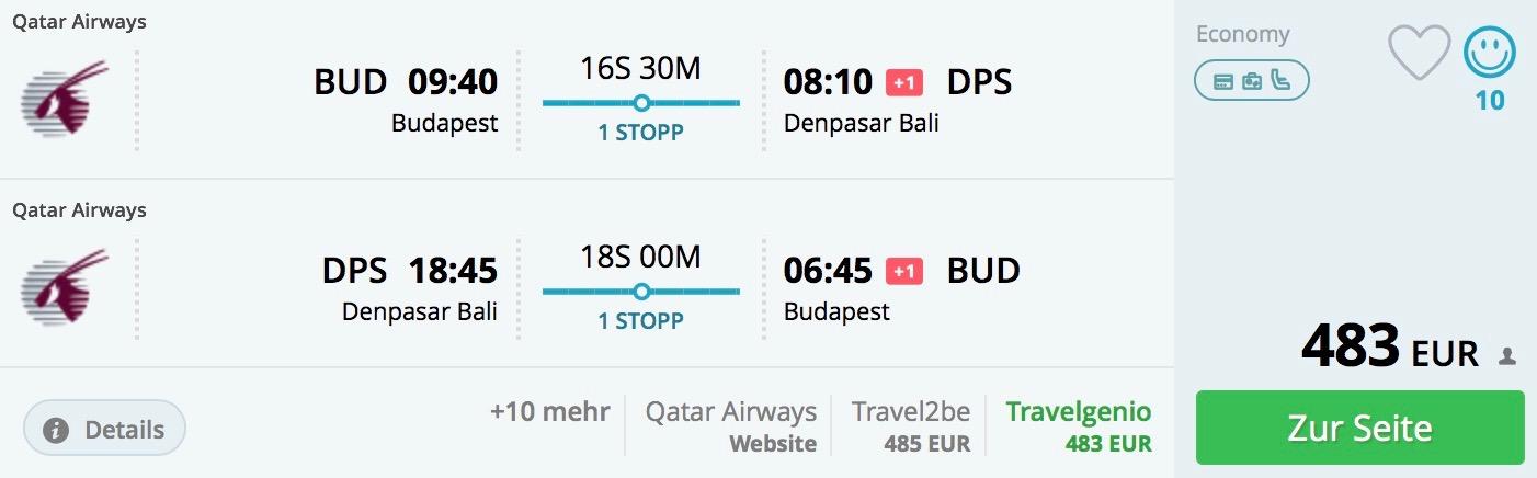 Budapešť – Bali od výborných 483€