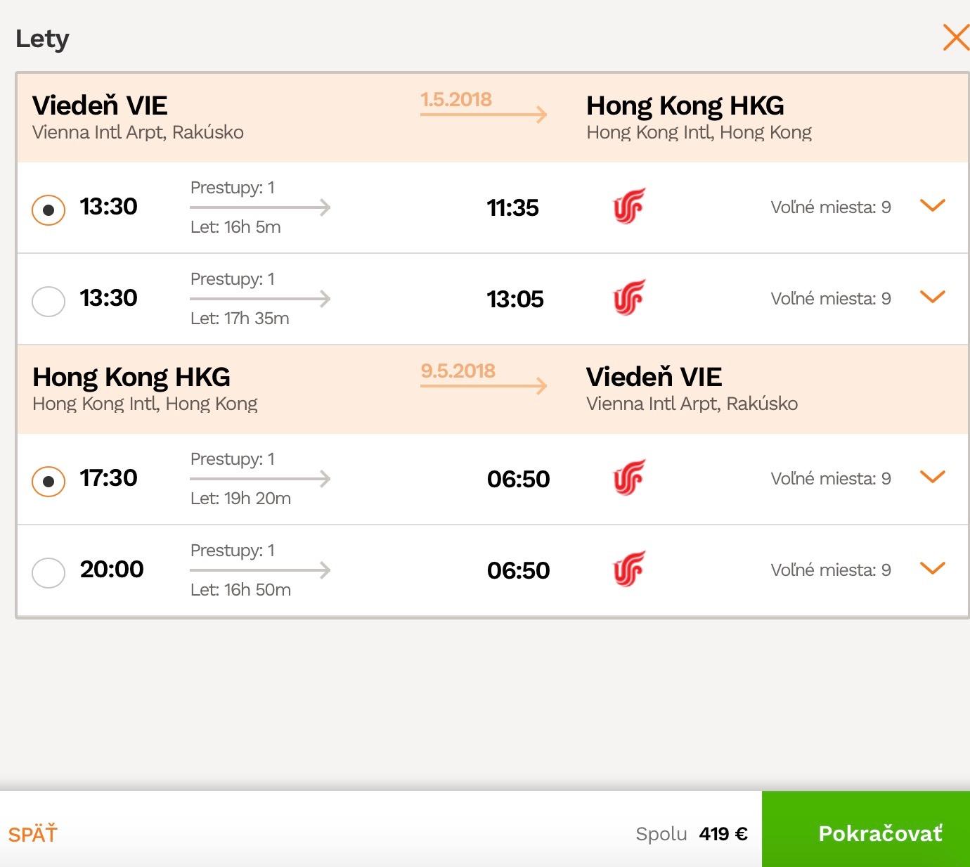 Hong Kong z Viedne za 419€