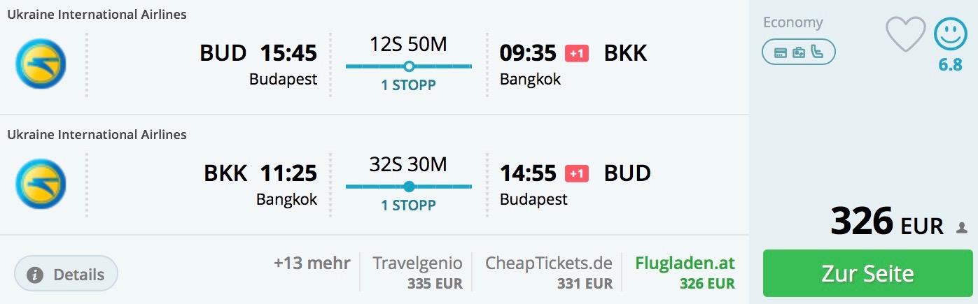 Bangkok od výborných 326€