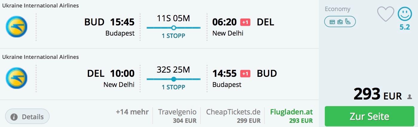Budapešť – Dillí od skvelých 293€