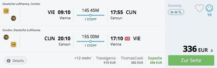 Last minute ponuka letov z Viedne do Cancúnu od 336€