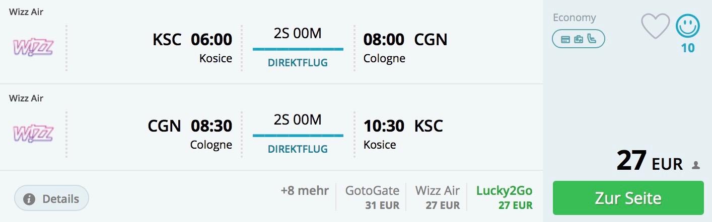 Košice – Kolín nad Rýnom od 27€