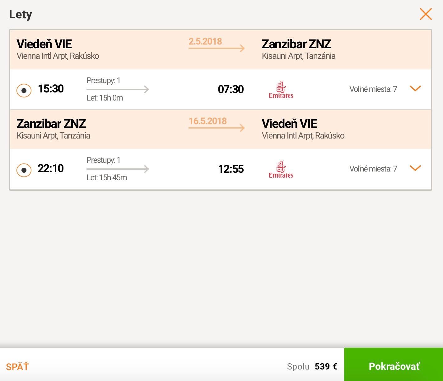 Zanzibar s Viedne s Emirates za 539€
