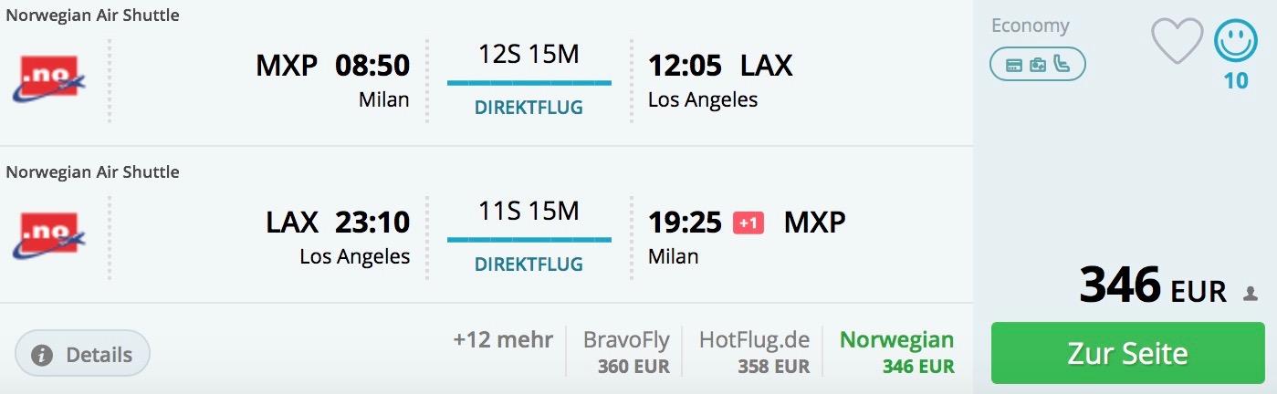 Miláno – Los Angeles priamy let od 346€