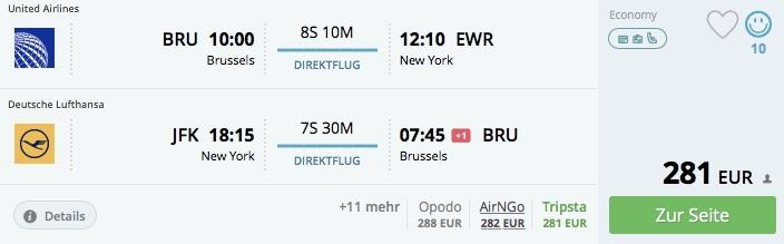 New York z Brusselu už od 240€