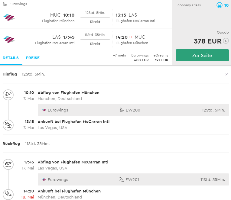Priamy let do Las Vegas z Mníchova od 378€