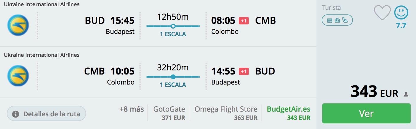 Sri Lanka s odletom z Budapešti od výborných 343€