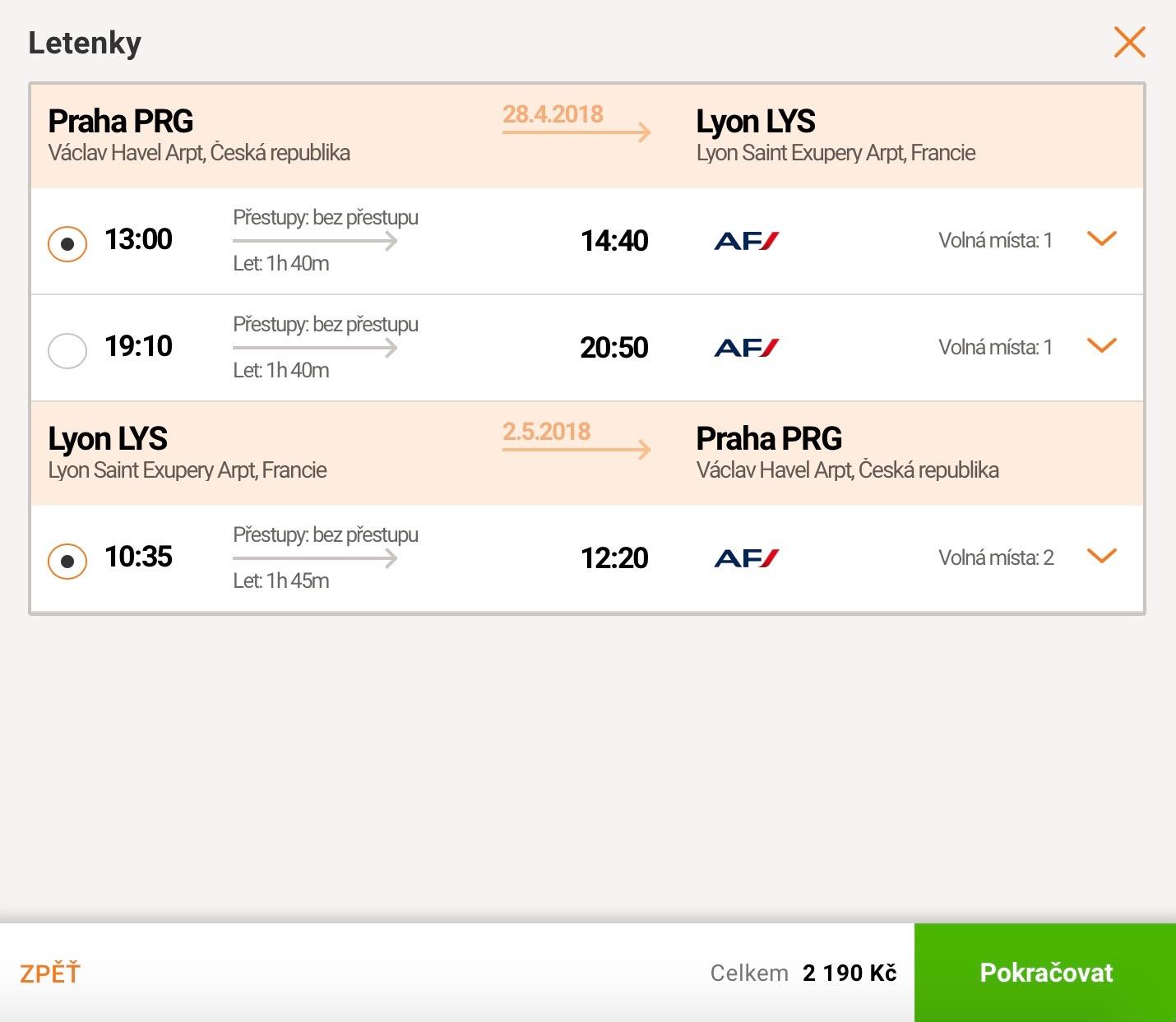 Praha – Lyon za 86€