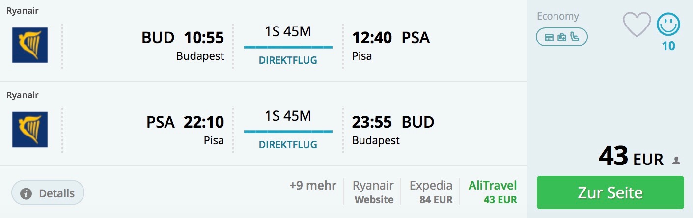 Budapešť – Pisa na jar aj v lete už od 43€