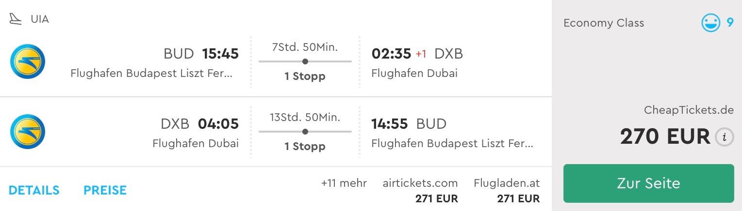 Budapešť – Dubaj na vianoce aj nový rok za 270€