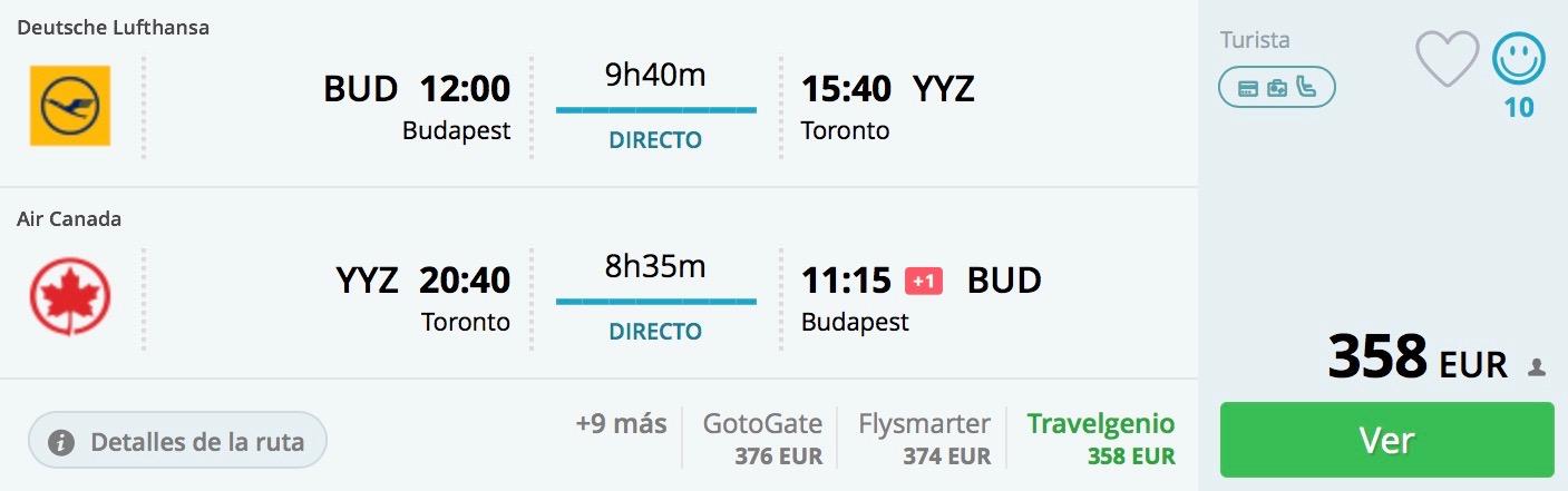 Budapešť – Toronto bez prestupu už od skvelých 358€