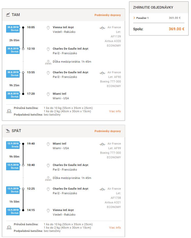 Viedeň – Miami za 369€