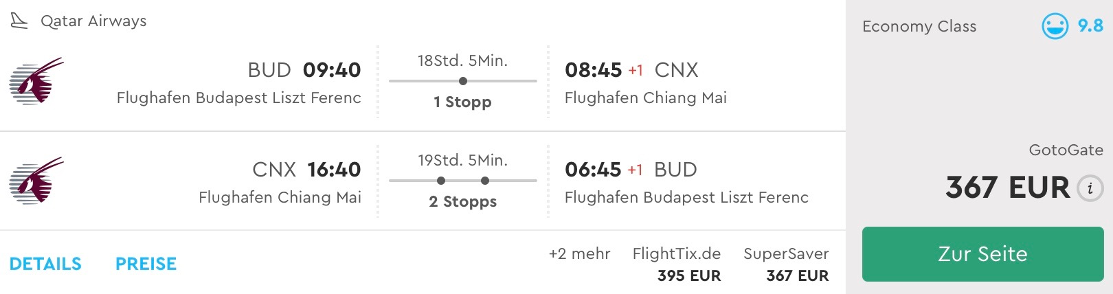 Thajsko s 5* Qatar Airways: Budapešť – Chiang Mai už od 367€