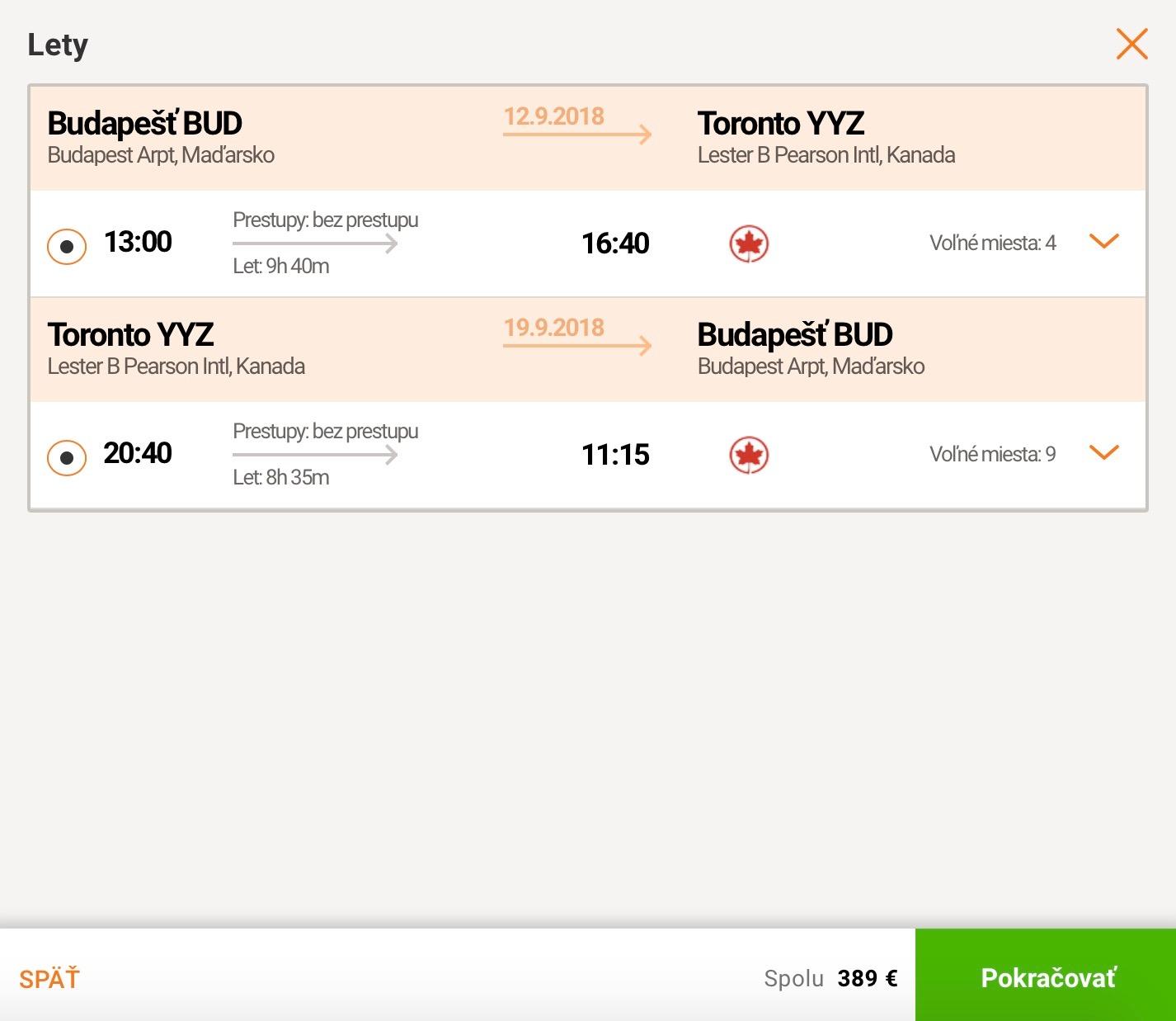 Priamy let do Kanady: Budapešť – Toronto už za skvelých 389€