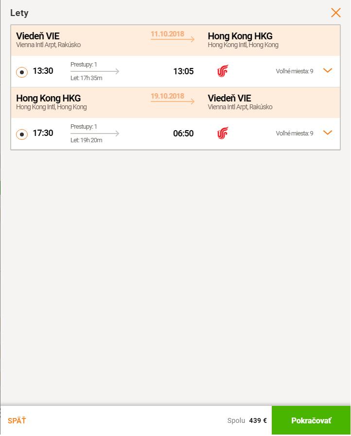 Viedeň – Hong Kong s Air China za 439€