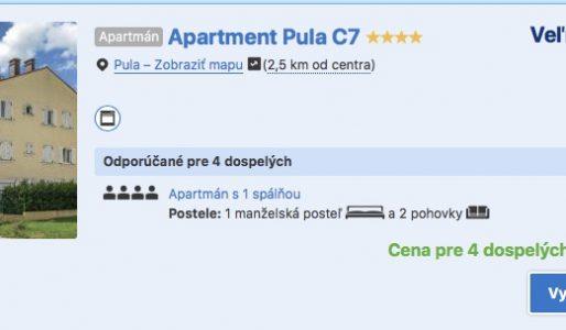 Ubytovanie v Chorvátskej Pule v júli už od 10€/osoba!