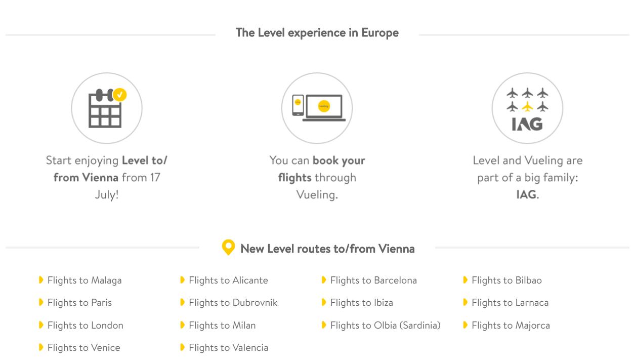 NOVINKA: Nízkonákladovka Level začne prevádzkovať z Viedne 14 nových pravidelných liniek