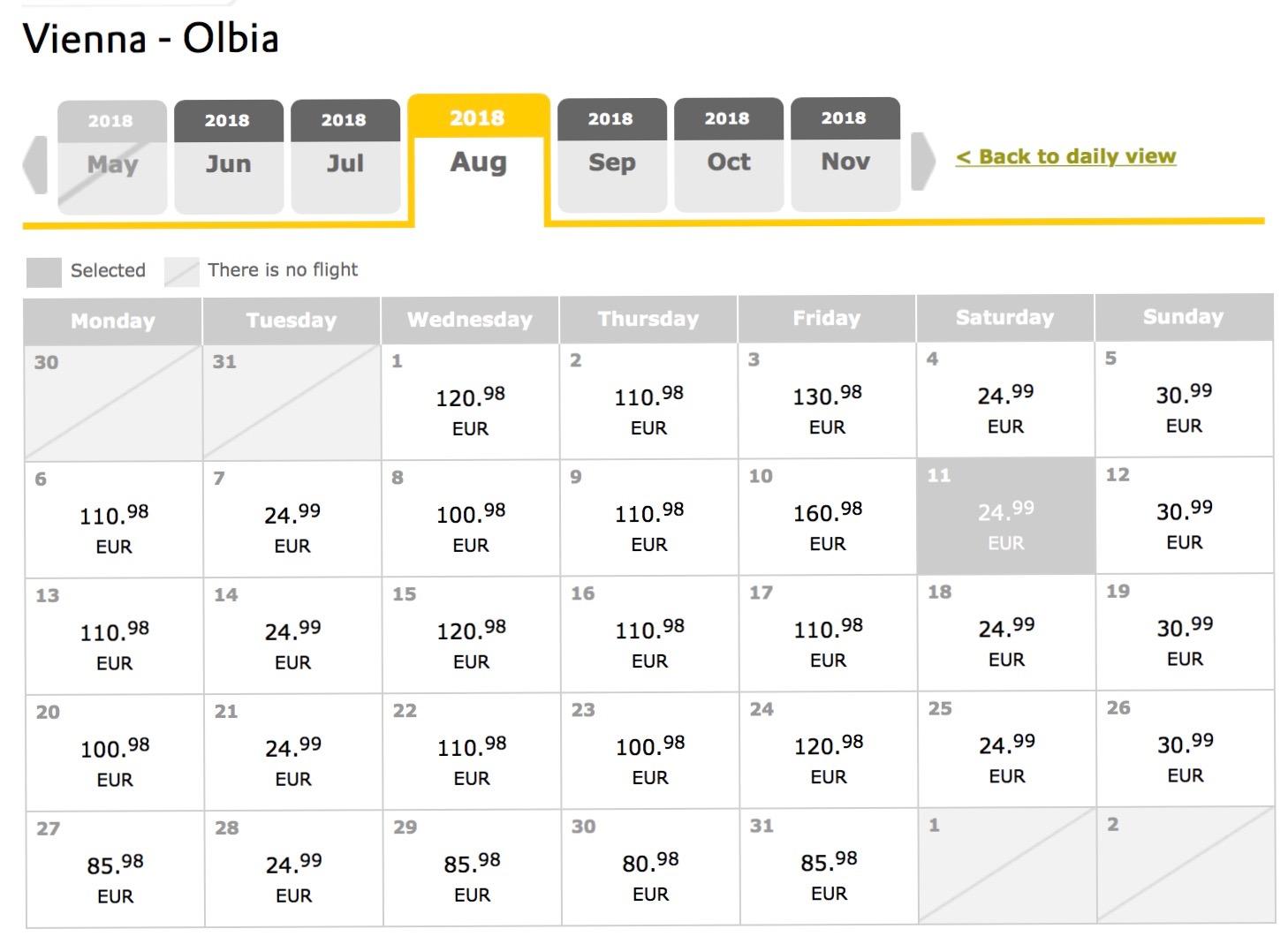 Sardínia (Olbia) aj cez letné prázdniny s odletom z Viedne už od výborných 50€