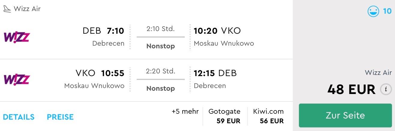 Moskva s odletom z Debrecínu počas leta už od skvelých 48€