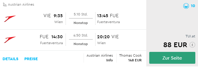 Last Minute letenka na Kanárske ostrovy: Viedeň – Fuerteventura za 88€