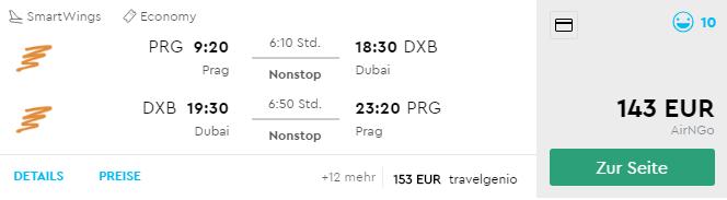 Priamy let z Prahy do DUBAJA už od fantastických 143€ (batožina v cene!)
