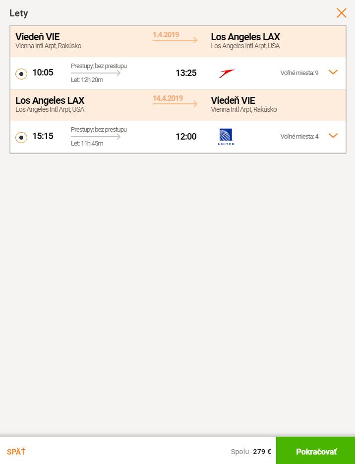 Priame lety do LOS ANGELES z Viedne za neuveriteľných 279€