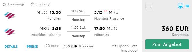 Priame lety na Maurícius z Mníchova už od skvelých 360€