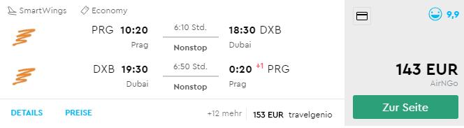 Priame lety z Prahy do DUBAJA v jesenných termínoch už za fantastických 143€ (batožina v cene!)