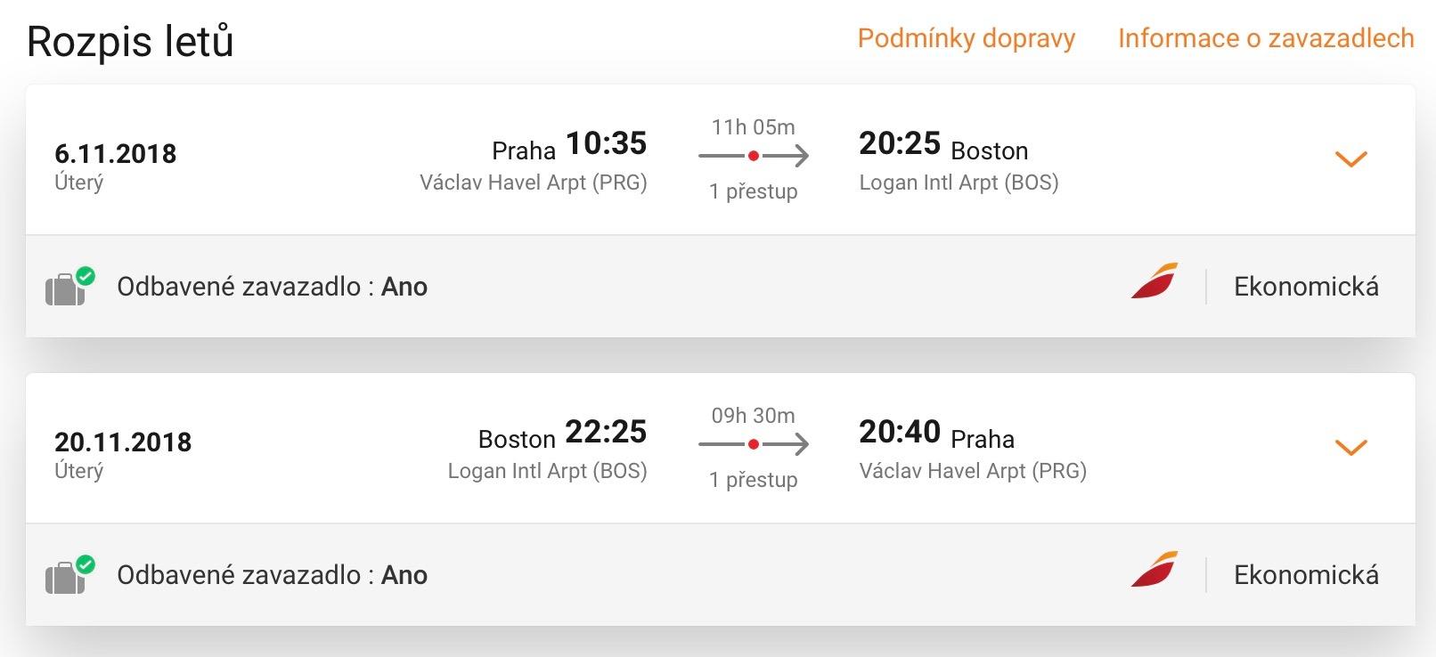Boston z Prahy za skvelých 295€ (zacheckovaná batožina v cene!)