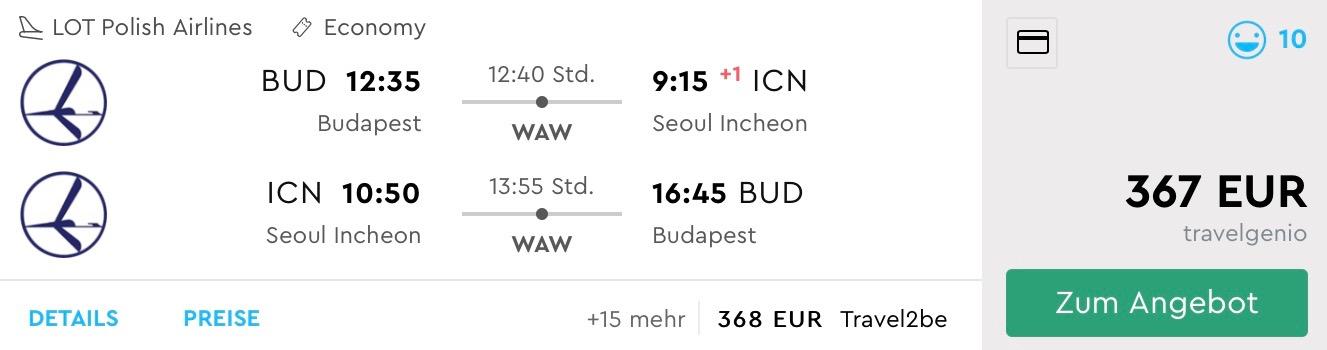Južná Kórea: Soul s odletom z Budapešti už od 367€