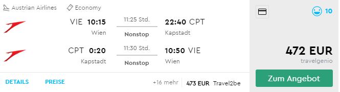 Juhoafrická republika: Priamy let z Viedne do Kapského Mesta už od výborných 472€