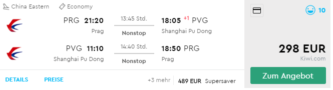 Priamy let z Prahy do Šanghaja za výborných 298€ (batožina v cene!)