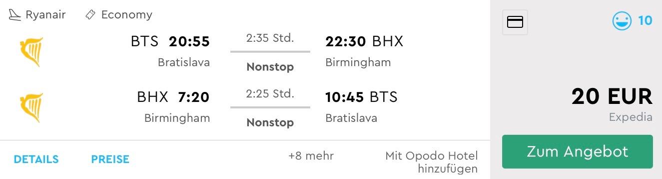 Birmingham s odletom z Bratislavy už od výborných 20€